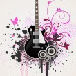 Floral Guitar Vector — Stock Vector