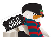 Let it snow! Snowman holding a sign. — Stock Vector