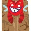 Funny looking red alien monster with wings — Stock Vector
