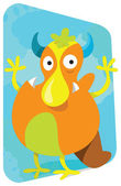 Cartoon monster, cute and funny looking broad nosed original devil — Stockvector