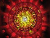 日の背景の端にマヤのカレンダー — ストックベクタ