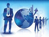 Fondo azul de negocios y tecnología — Vector de stock