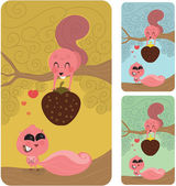 Squirrel Love Couple, Valentines Gift — Stockvector