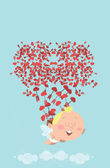 Flying cupid losing his bag of heart arrows in the sky — Stock Vector