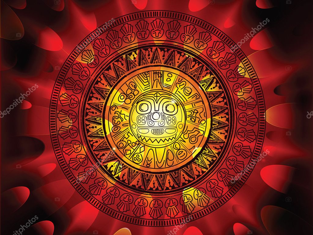 2012 prohecy of the Maya's, showing a Mayan calendar on a hot fiery explosive apocalypse background — Stock Vector #4686004