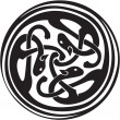 Celtic Irish zoomorphic interwoven design in black and white - Stock Vector