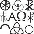 Set of christian symbols — Stock Vector