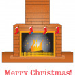 Stock Vector: Brick fireplace