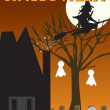 Halloween witch, haunted house scene — Stock Vector