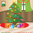 Christmas themed house — Imagen vectorial