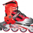 Stock Vector: Red hot plastic and fabric sport rollerblade, vector