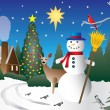 Snowman in Christmas scene — Stock Vector