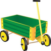 Green Toy Wagon — Stock Vector