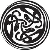 Celtic Irish zoomorphic interwoven design in black and white — Stock Vector
