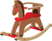 Red painted wooden horse — Stock Vector