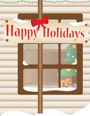 Christmas themed house outdoor — Stock Vector