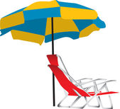 Beach umbrella and chair — Stock Vector