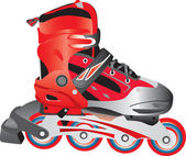 Red hot plastic and fabric sport rollerblade, vector — Stock Vector