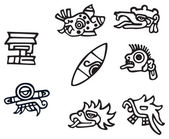 Mayan symbols, great artwork for tattoos — Stock Vector