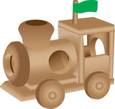 Ilustración de tren de juguete de madera — Vector de stock