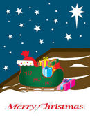 Santa sleigh full of gifts, outside, on a starlit sky — Stock Vector