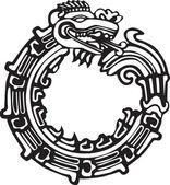 Aztec Maya Dragon - Great for tatto art — Stock Vector