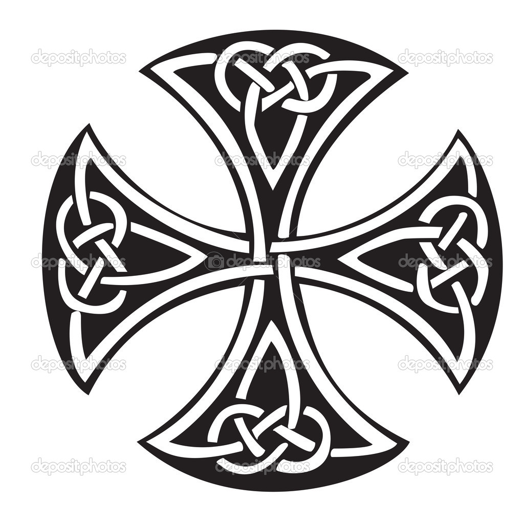 An illustration of a Celtic cross with a beautiful design, isolated on white background. — Vettoriali Stock  #4762977