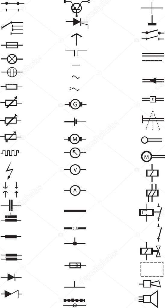 an extensive list of numerous electrical signs and symbols  all in vector   u2014 stock vector  4763132