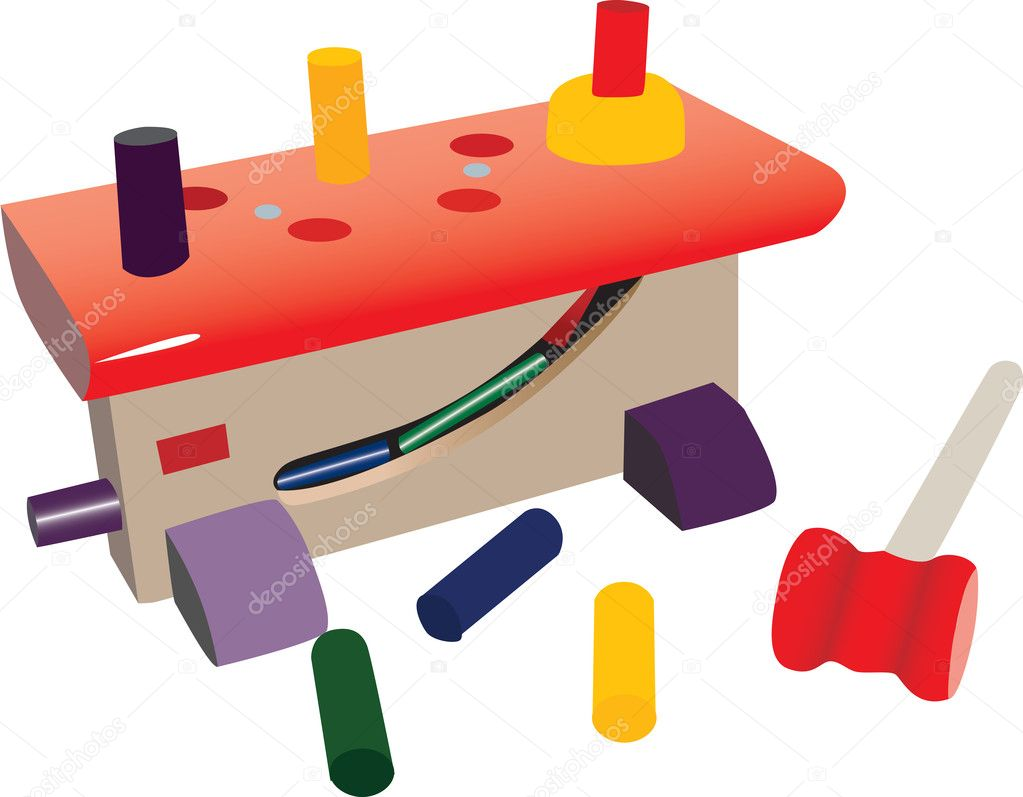 Small toy workshop, with plastic tools, nails and hammer. Colorful toys. — Stock Vector #4763138