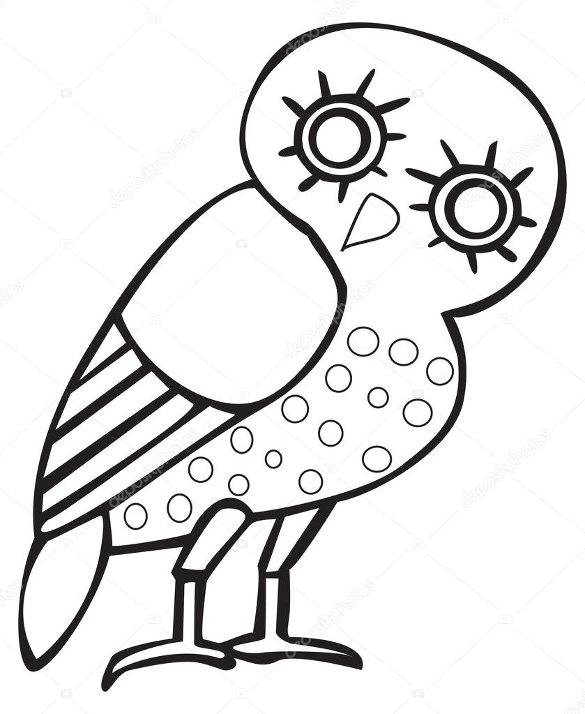 Greek owl sign, symbol, for tattoo or artwork, vector. — Vector by ...