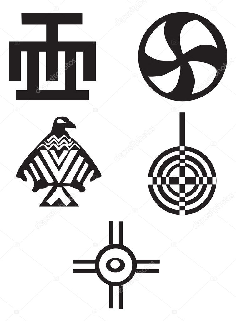 Five different native American and african  symbols - Indians — Stock Vector #4763730
