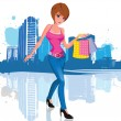 Royalty-Free Stock Vector Image: Young woman with shopping bag in city