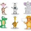 Six cartoon animals isolated on white - Stock Vector