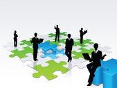 3D business silhouette assembling a puzzle — Stockvektor