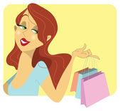 Cute redhead woman with shopping bags — Stock Vector