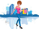 Young woman with shopping bag in city — Stock Vector