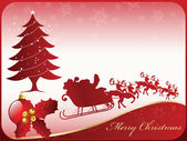 Feliz tarjeta de navidad con santa claus, bola y árbol — Vector de stock