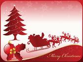 Merry christmas card met santa, bal en boom — Stockvector