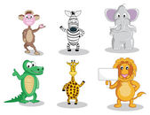 Six cartoon animals isolated on white — 图库矢量图片