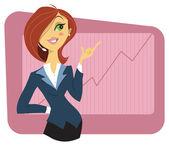 Mujer joven sexy en un traje de negocios — Vector de stock