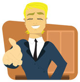 Young businessman offering a handshake — Stock Vector