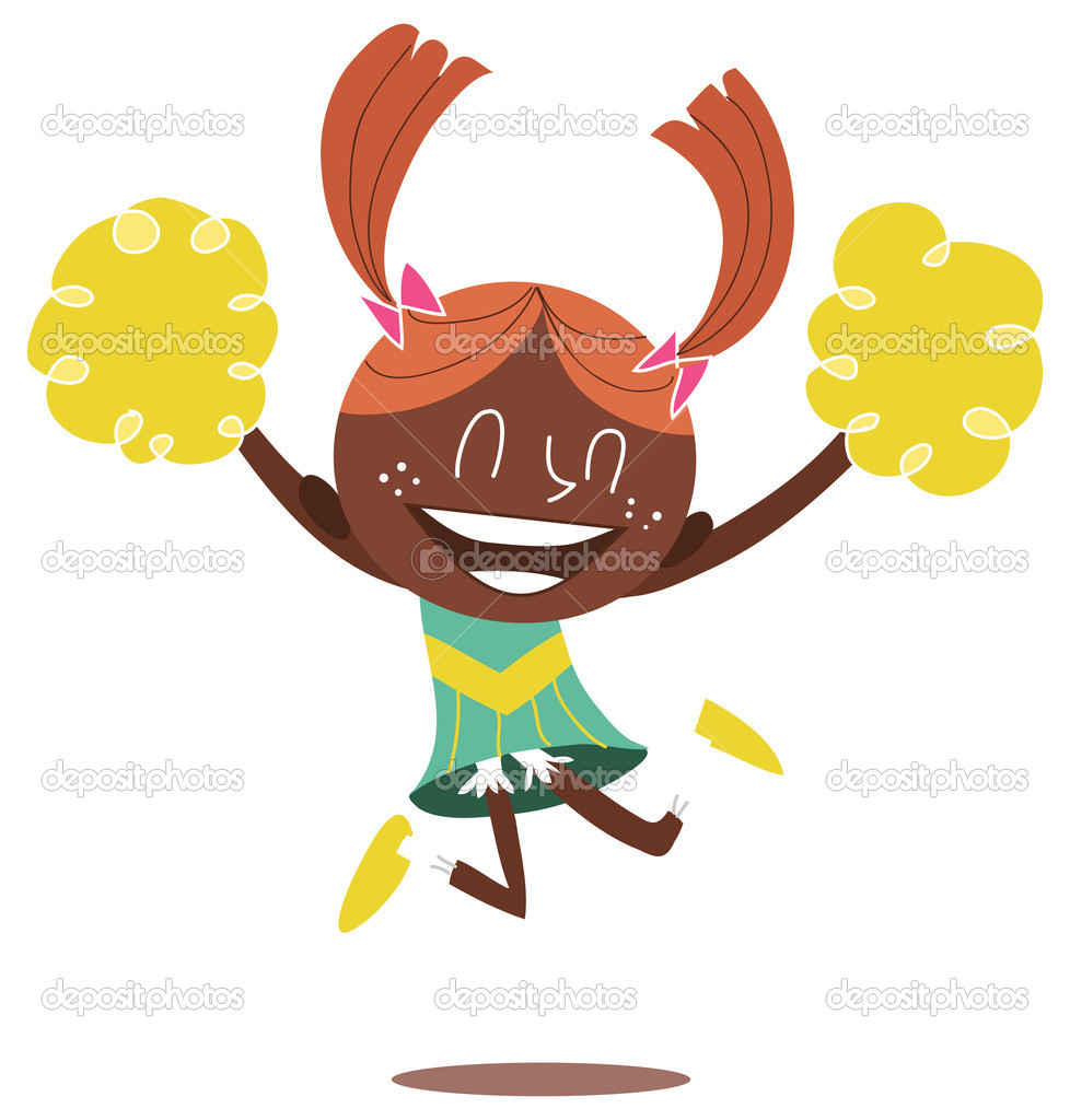 Young illustration of a black smiling cheerleader jumping and cheering with two ponytails. Looks excited.  Stock Vector #4797549