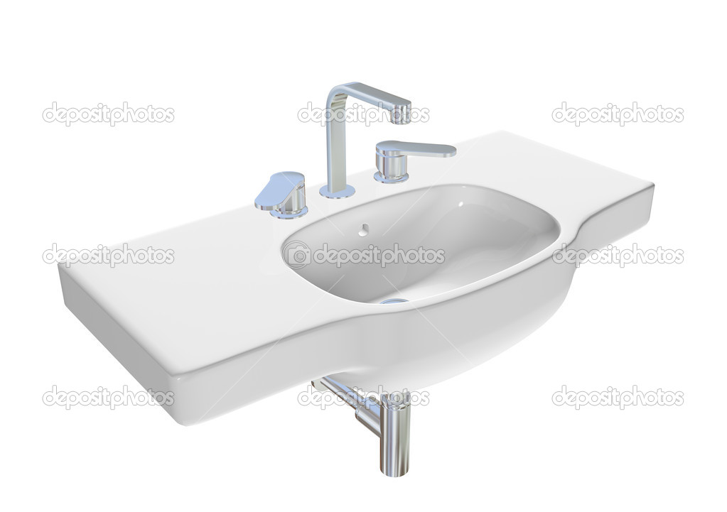 Modern washbasin or sink with chrome faucet and plumbing fixtures. 3D illustration. — Stock Photo #5362684