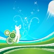 图库矢量图片: Mdriving golf ball on blue green background