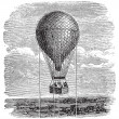 Stok Vektör: Old aerostat or hot air balloon vintage illustration.