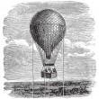 Old aerostat or hot air balloon vintage illustration. — Stock Vector