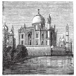 Vector de stock : Taj-Mahal, India. Old engraved illustration of the famous Taj-Ma