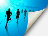 Grupo de corredores en un fondo de paisaje urbano azul, con la página f — Vector de stock