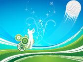 člověk jezdí golfový míček na modré, zelené pozadí — Stock vektor