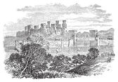 Aberconway Castle, now known as Conway Castle, in the North coas — Vector de stock